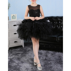 Luxury Beaded Ball Gown Illusion Neckline Sleeveless Short Black Bubble Skirt Little Girls Party Dresses