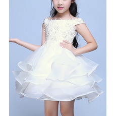 Perfect Lovely A-Line Off-the-shoulder Lace Appliques Short Organza Flower Girl Dresses with Layered Skirt