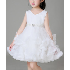 Beautiful Cute A-Line Mini/ Short Ruffled Tiered Skirt Tulle Flower Girl Dresses with Beaded Waist