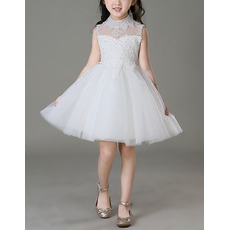 Amazing A-Line Mini/ Short Tulle Flower Girl Dresses/ Luxury Beaded Appliques Little Girls Dresses with Open Back