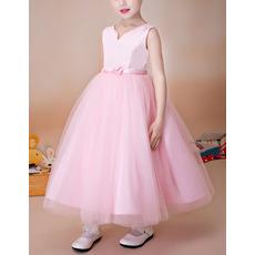 Inexpensive Ball Gown Sleeveless Tea Length Satin Tulle Pink Flower Girl Dress