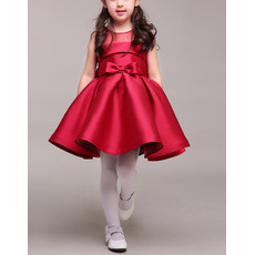 Cute Ball Gown Sleeveless Mini/ Short Pleated Satin Red Flower Girl Dresses with Illusion Back