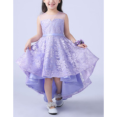 Affordable A-Line Round Neckline High-Low Asymmetric Hem Lace Flower Girl Dresses with Illusion Back