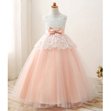 Stunning Ball Gown Long Lace Appliques Tulle Satin Little Girls Party Dresses with Crystal Detailing