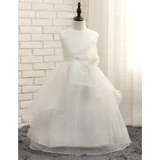 Cut Floor Length Bead Waist Organza Flower Girl/ First Communion Dresses with Layered Draped High-Low Skirt