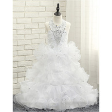 Amazing Gorgeous Halter Floor Length Ruffled Layered Skirt Little Girls Party Dresses