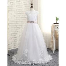 Affordable Slight Cap Sleeves Floor Length Lace Tulle White Flower Girl/ First Communion Dresses