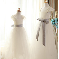 Discount Simple A-Line Square Neck Long Length Satin Flower Girl/ First Communion Dresses with Sashes