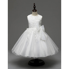 Cute Affordable Ball Gown Tea Length Lace Satin White Flower Girl Dresses with Bow