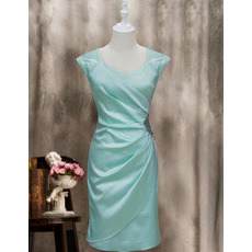 Custom Column Sleeveless Knee Length Satin Homecoming Dresses