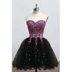 Luxury Shimmering Beading Rhinestone Embellished Sweetheart Short Black Homecoming Dresses