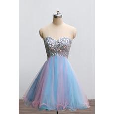 Luxury Shimmering Beading Rhinestone Embellished Sweetheart Short Tulle Homecoming Dresses