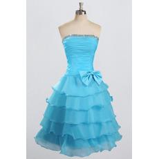 Custom Strapless Knee Length Chiffon Layered Skirt Homecoming Dresses