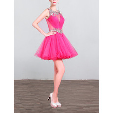Sparkle Crystal Beading Embellished Short Tulle Homecoming/ Party Dresses with Sexy Back