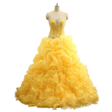 Gorgeous Ball Gown Ruffle Layered Prom Party Dresses/ Quinceanera Dresses with Rhinestone Beading Bodice