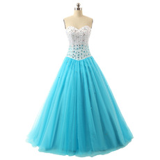 Affordable A-Line Sweetheart Floor Length Rhinestone Prom/ Party Dress