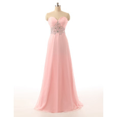 Elegant Sweetheart Chiffon Evening/ Wedding Party Dresses with Beaded Waist