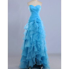 Custom Sweetheart High-Low Organza Layered Skirt Evening Dresses