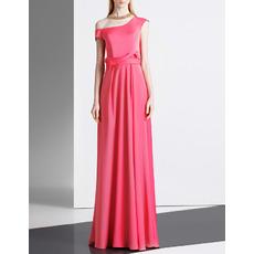 Elegant Asymmetric Shoulder Floor Length Satin Evening Dresses
