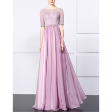 Elegant Floor Length Chiffon Beading Evening Dresses with Half Sleeves