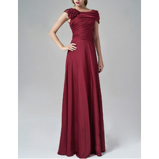 Elegant Silk Like Satin Evening Dresses with Cap Sleeves and Asymmetric Ruched Shoulder