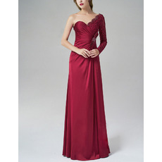 Elegantly Asymmetric Shoulder Silk Like Satin Evening Dresses with Side Gathered and Bow