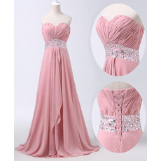 Elegance Sweetheart Pleated Chiffon Evening/ Prom Party Dresses with Beaded Waist