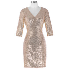 Custom Shimmering V-Neck Knee Length Sequined Mother of The Bride Dresses with 3/4 Long Sleeves