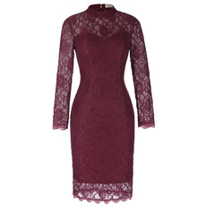 Elegant Vintage Mandarin Collar Knee Length Lace Mother of The Bride Dresses with Long Sleeves