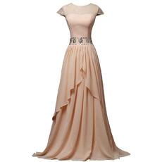 Exquisite Rhinestone Waist Floor Length Chiffon Mother Dresses with Keyhole Back