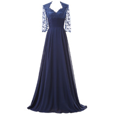 Elegant Vintage Sweetheart Ruching Chiffon Mother of The Bride Dresses with 3/4 Long Lace Sleeves