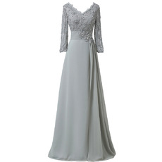 Elegant Luxury Beaded Appliques Double V-Neck Floor Length Ruching Chiffon Mother of The Bride Dresses with 3/4 Long Sleeves