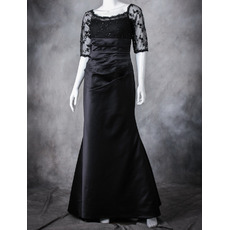 Discount Full Length Asymmetrical Pleated Satin Lace Black Mother of The Bride Dresses with Half Sleeves
