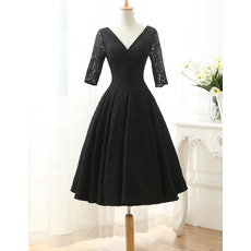 Elegant Simple Double V-Neck Knee Length Black Lace Mother of The Bride Dresses with Half Sleeves