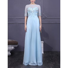 Glamorous Beaded Appliques Illusion Tulle Neckline Floor Length Chiffon Mother Dresses with Half Sleeves