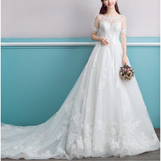 Dramatic Illusion Neckline Chapel Train Appliques Beadings Organza Wedding Dresses with Short Sleeves