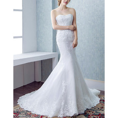 Sexy Sheath Sweetheart Court Train Satin Organza Wedding Dresses