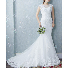 New Mermaid Sleeveless Court Train Organza Wedding Dresses