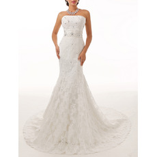 Dramatic Sheath Strapless Sleeveless Lace Wedding Dresses with Crystal Beading Detail