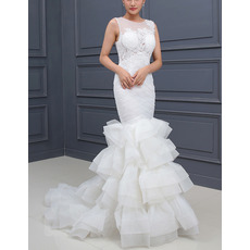 Style Sheath Sleeveless Sweep Train Layered Skirt Wedding Dresses