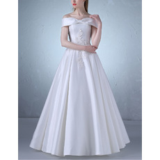 Custom Off-the-shoulder Floor Length Satin Lace-Up Wedding Dresses