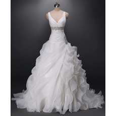 Sexy V-Neck Sweep Train Organza Asymmetric Ruffle Wedding Dresses