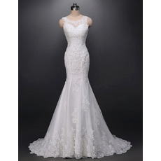 Gorgeous Beaded Appliques Mermaid Tulle Wedding Dresses with Low Back