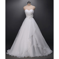 Romantic Ball Gown Sweetheart Organza Wedding Dresses with Hand-made Flowers