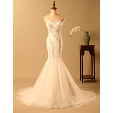 Affordable Mermaid Sweetheart Long Lace Bodice Wedding Dresses