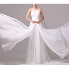 Custom One Shoulder Sleeveless Sweep Train Chiffon Wedding Dresses
