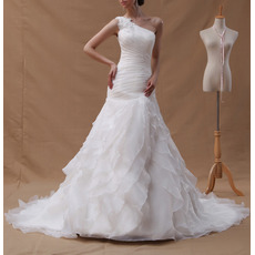 Romantic One Shoulder Organza Wedding Dresses with Split-front Layered Skirt