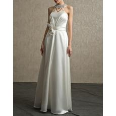 Sexy Crystal Beaded Neck Floor Length Satin Wedding Dresses with Bow