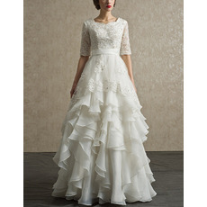 Affordable Chiffon Layered Skirt Wedding Dresses with Half Sleeves