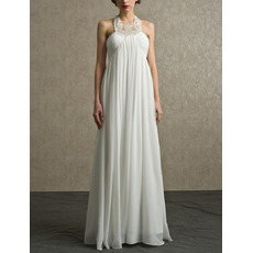 Junoesque Column Halter Full Length Chiffon Reception Wedding Dresses for Pregnant/ Flowing Pleated Maternity Bridal Gowns
